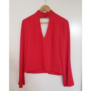 INTERMIX Red Open Back Bell Sleeve Blouse Revolve